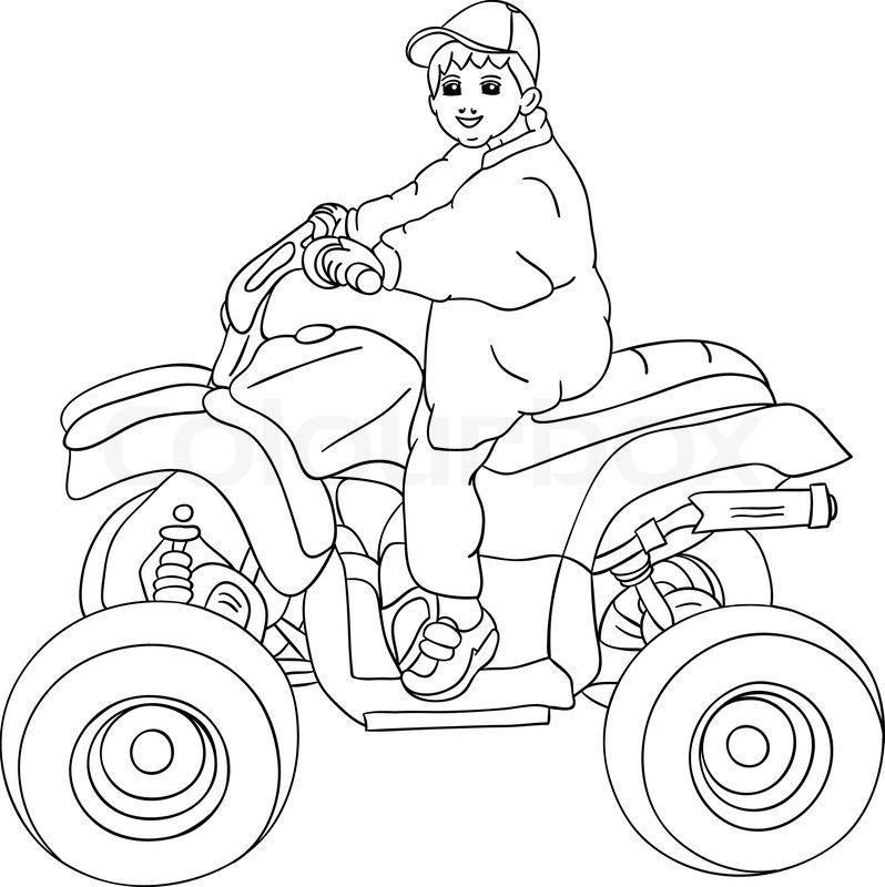 vector  a little boy sitting on quad bike  stock vector