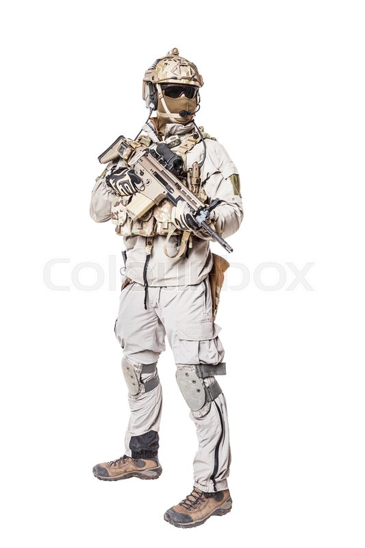 Army Soldier In Protective Combat Uniform Holding Special