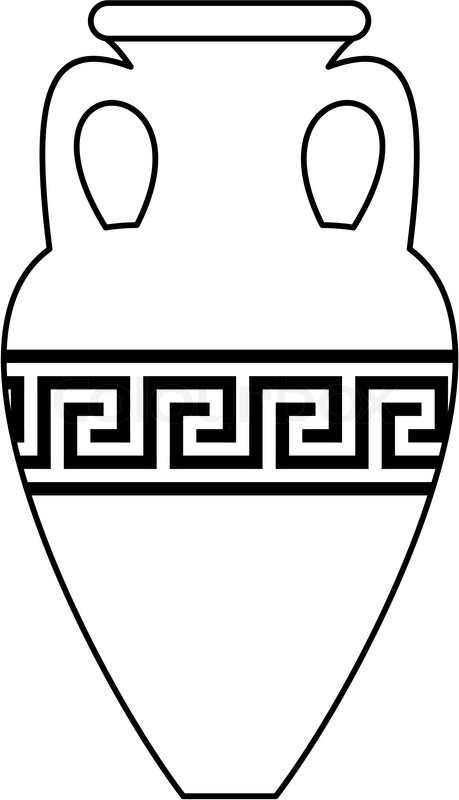 White Silhouette Contour Of Ancient Amphora Vase With