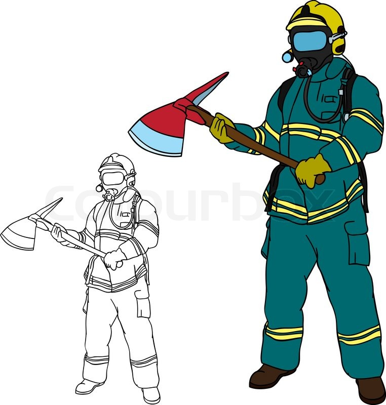 stock vector of vector firefighter with axe hand draw isolated on background