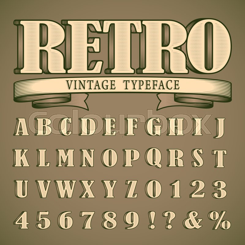 Bold retro vintage font western style design full alphabet and bold retro vintage font western style design full alphabet and numbers stock vector colourbox stopboris Images