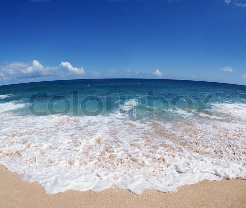 Beautiful beach and waves close up on | Stock Photo ...