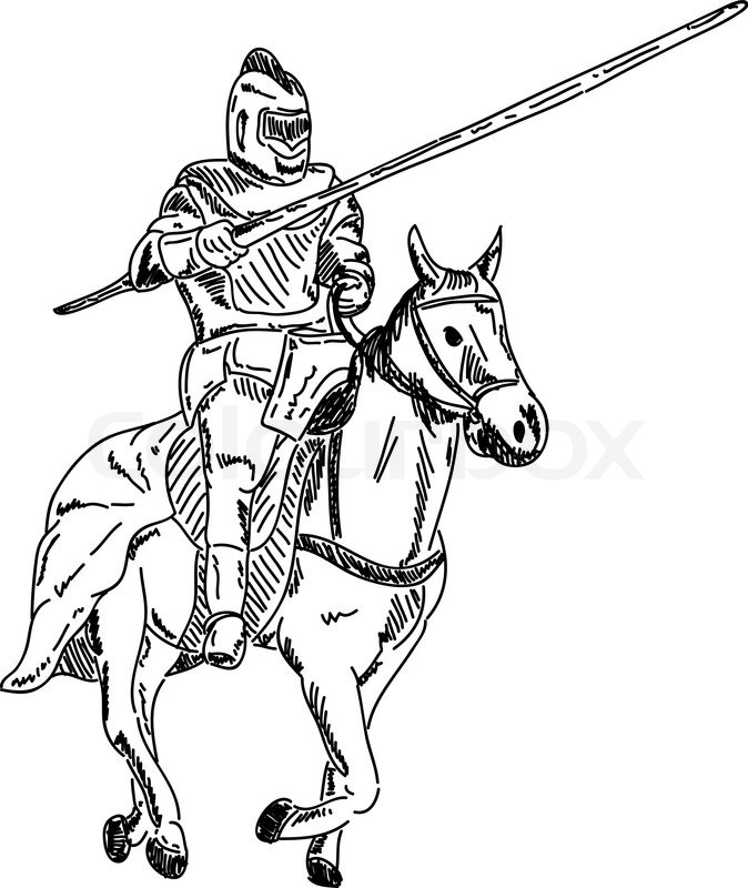 Vector Knight On Horse Isolated On Background Stock