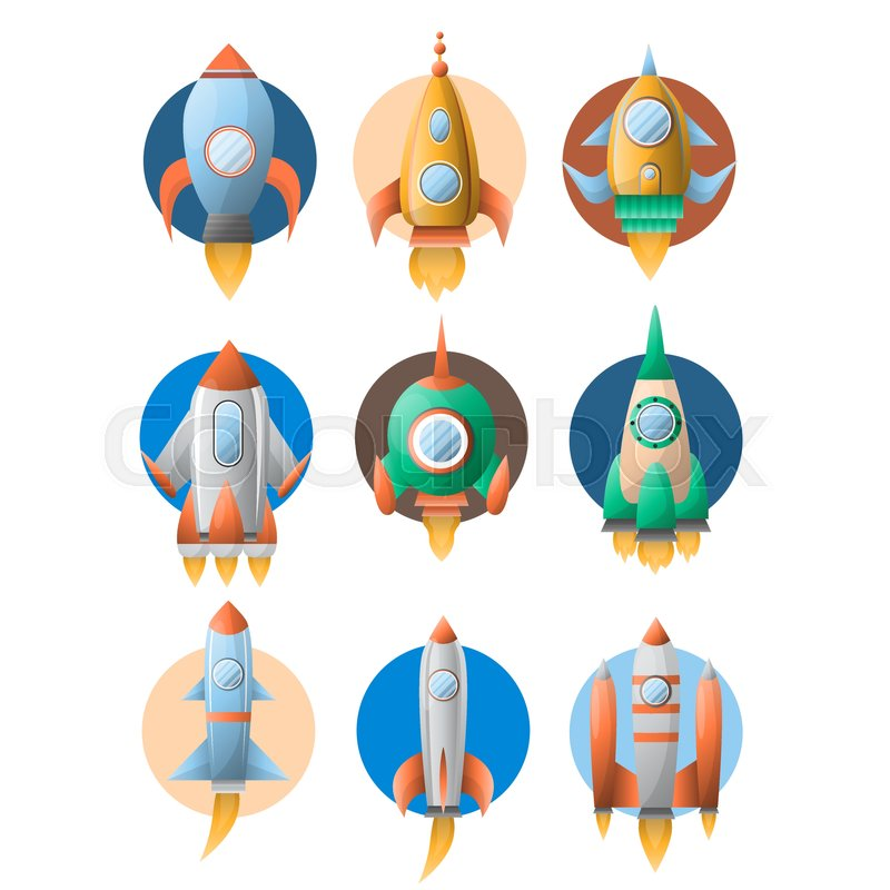 rockets or spaceship on startup flat icons set vector isolated rh colourbox com spaceship vector images spaceship vector png