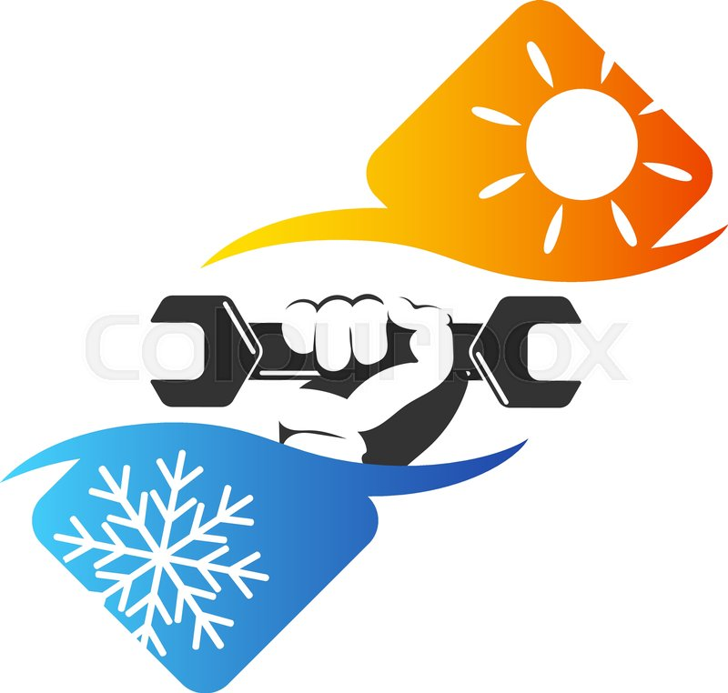 Repair Air Conditioner Symbol Wrench In Hand Stock Vector Colourbox