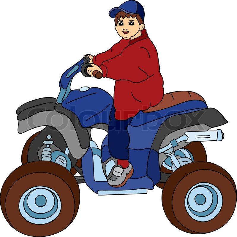 vector a little boy sitting on motorbike stock vector colourbox rh colourbox com