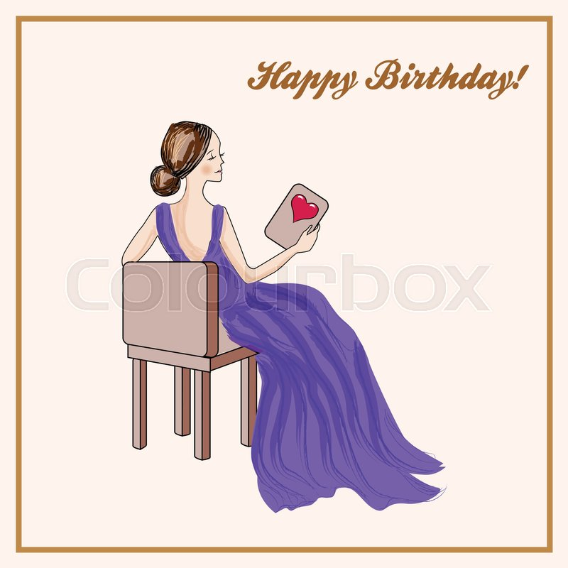 Happy Birthday Card With Seated Woman