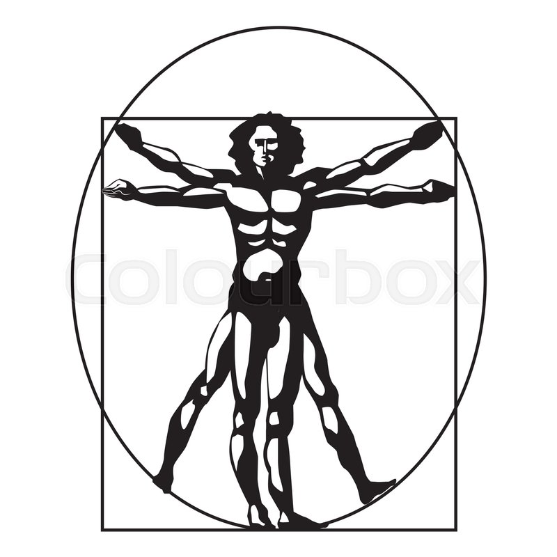 vitruvian man silhouette stylized symbol on a white background rh colourbox com vitruvian man vector png vitruvian man vector download
