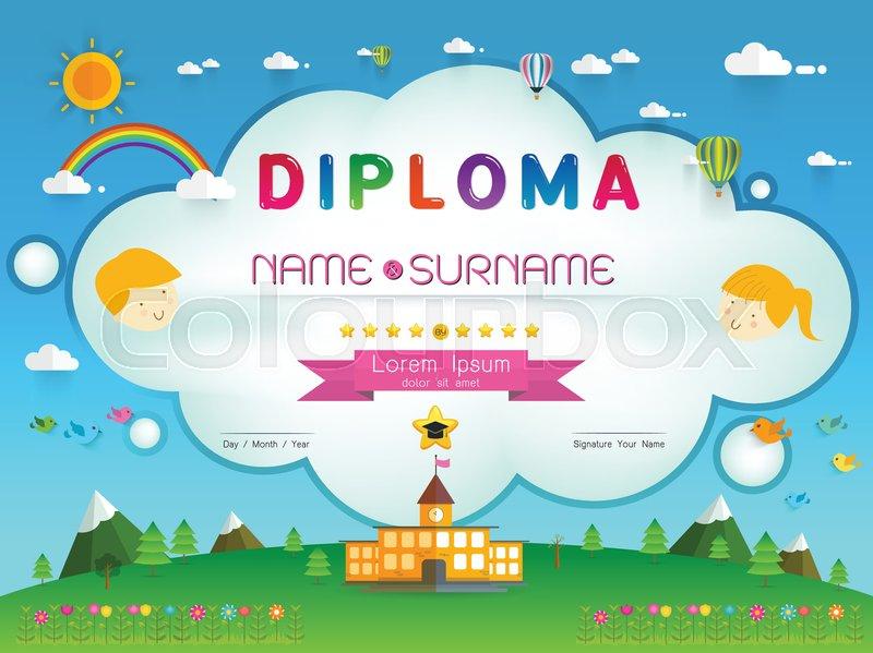 Certificate kids diploma, kindergarten template layout ...  Certificate kid...