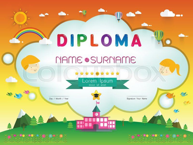Certificate kids diploma kindergarten template layout background certificate kids diploma kindergarten template layout background frame design vector illustration preschool elementary school kids diploma certificate yelopaper Image collections