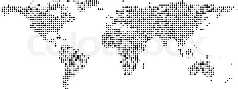 Communication World Map Of Black Dots Stock Vector Colourbox