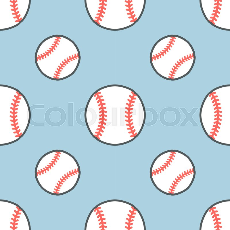 Baseball, softball sport game vector seamless pattern, background with line icons of balls. Linear signs for championship, equipment store, vector