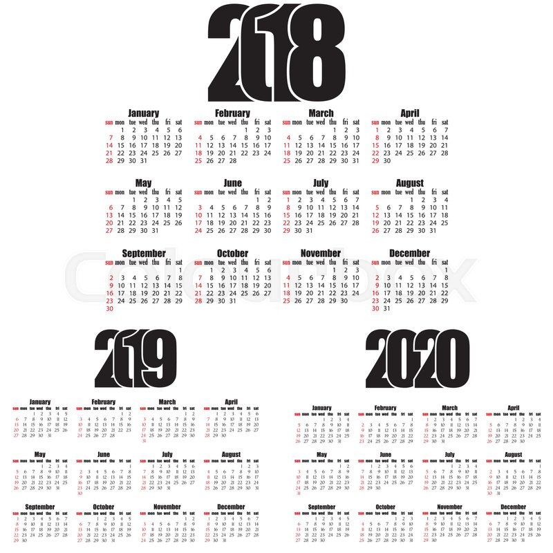 calendar 20182019 2020 year flat design simple style week starts from sunday creative flat