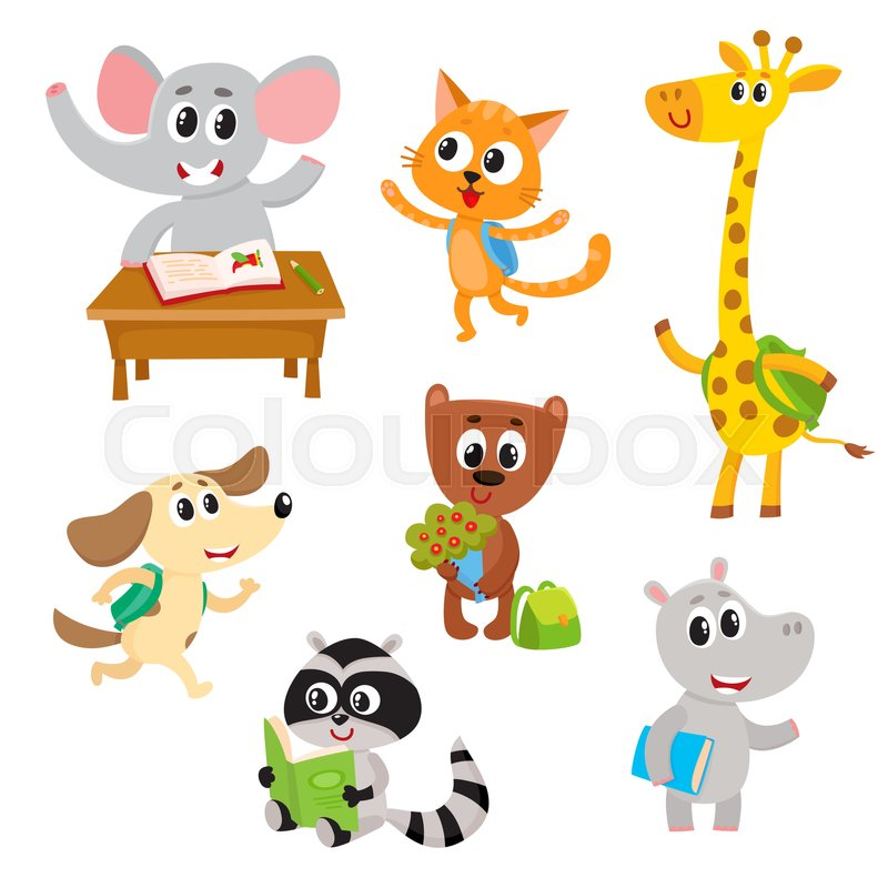 Cute little animal students characters studying reading going cute little animal students characters studying reading going to school cartoon vector illustration isolated on a white background little baby animal voltagebd Images
