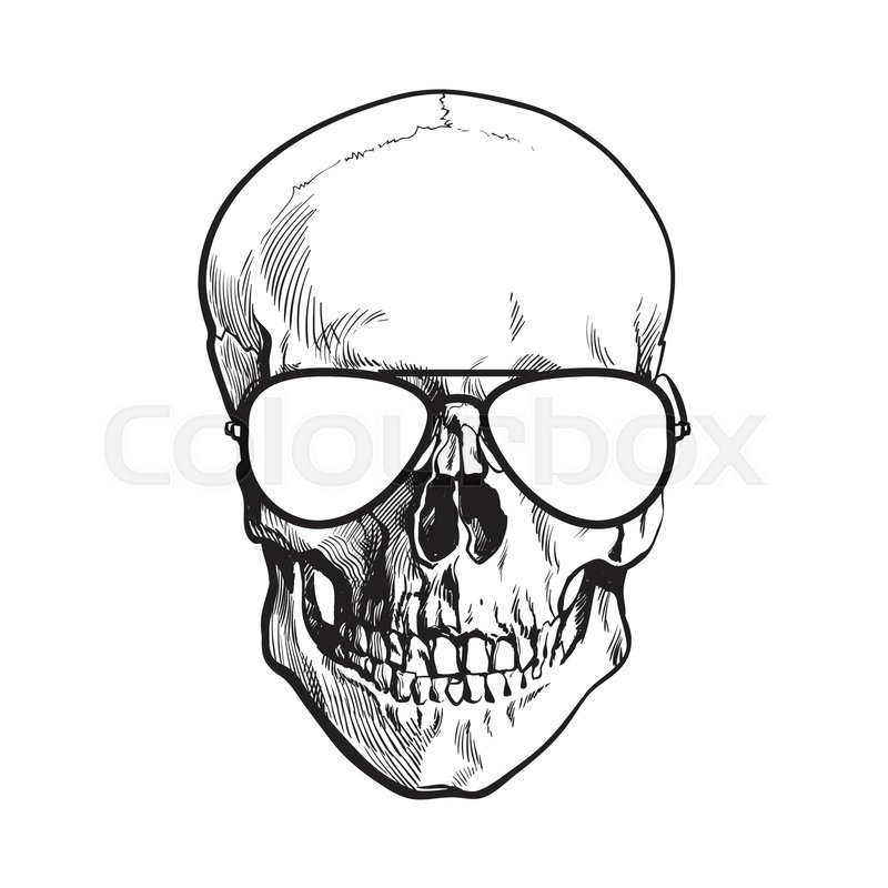 f3d0fa4cfb3 Hand drawn human skull wearing black ...