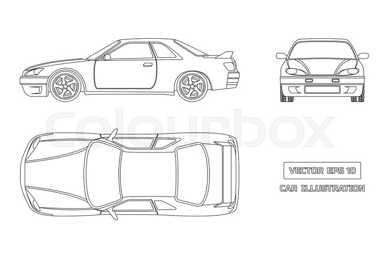 Contour drawing of the car on a white background. Top, front and ...