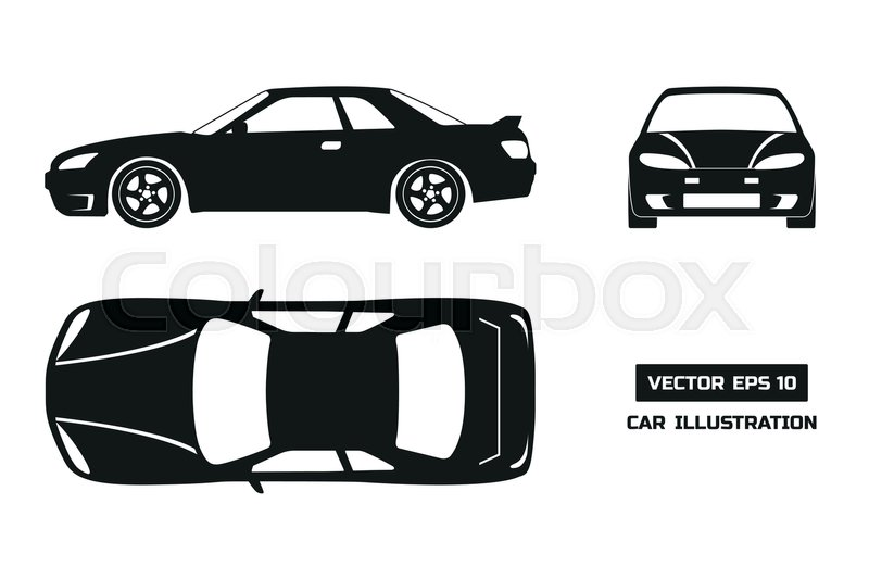black silhouette of the car on a white background top front and side view vector illustration. Black Bedroom Furniture Sets. Home Design Ideas