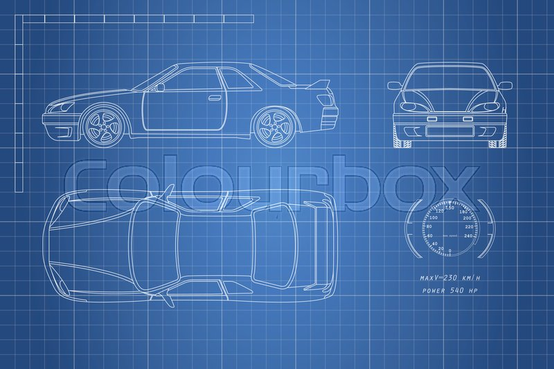 Drawing of the car on a blue background. Top, front and side view ...