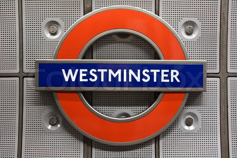 Westminster Station Sign The London Underground Stock Photo