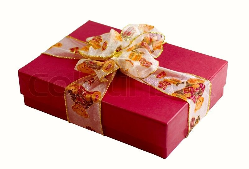 Red gift box with beautiful ribbon | Stock Photo | Colourbox