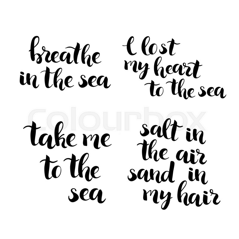 Hand Drawn Brush Lettering Sea Travel Quotes Typography Design Element Photo Overlay Vector Illustration