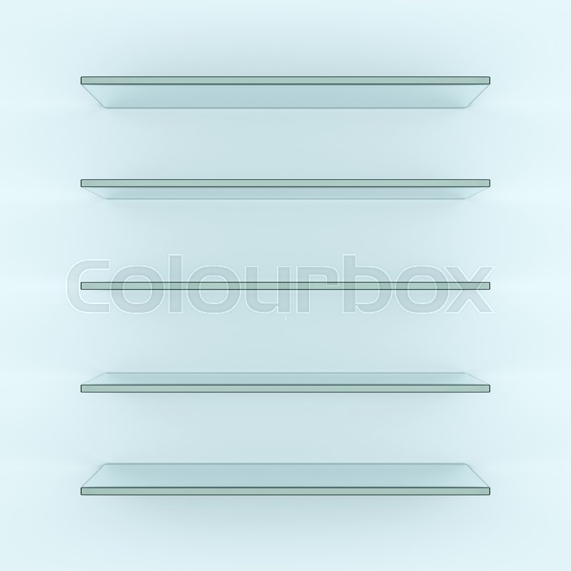 Glass shelves on light grey background. 3d illustration. Template for your design, stock photo