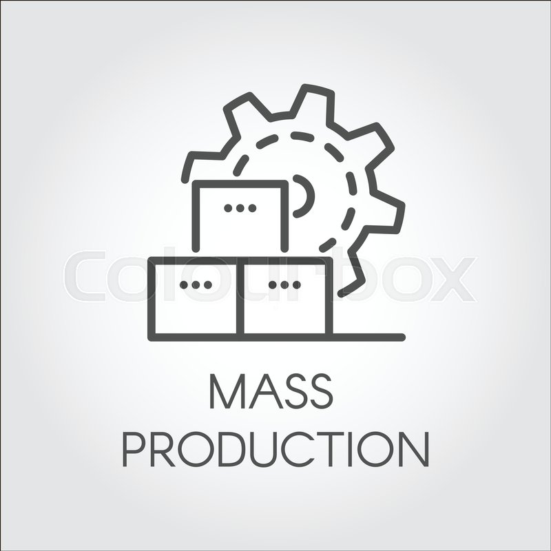 Icon In Linear Style Of Gear Wheel Mass Production And Modern
