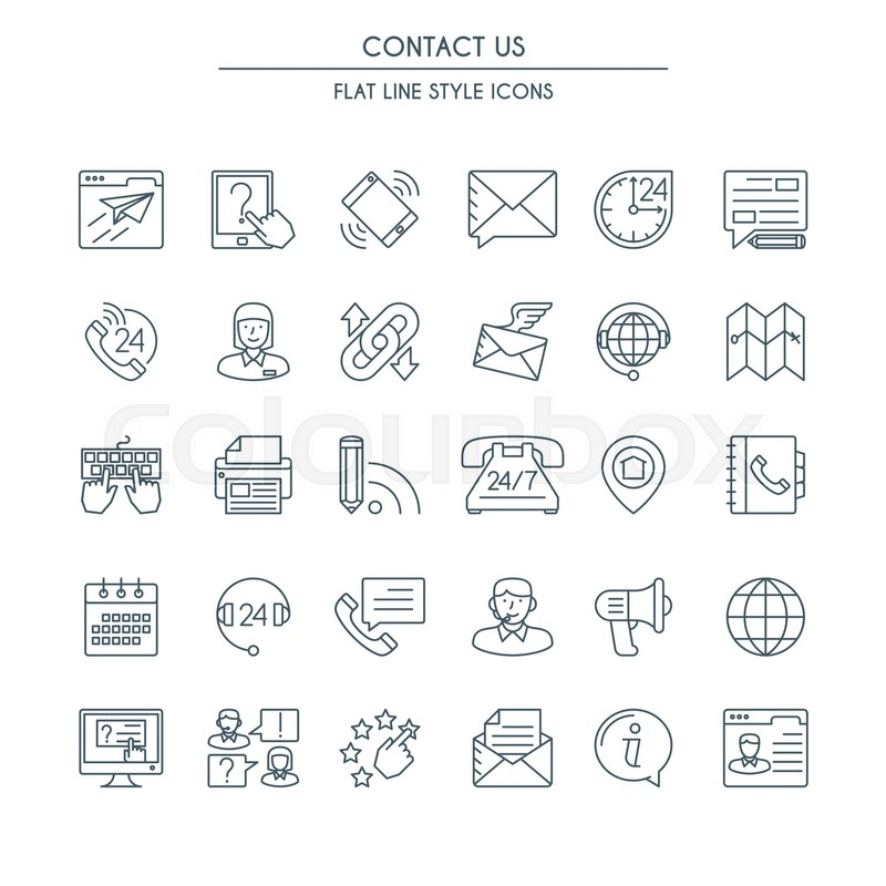 contact us icons thin line set  modern icons on theme