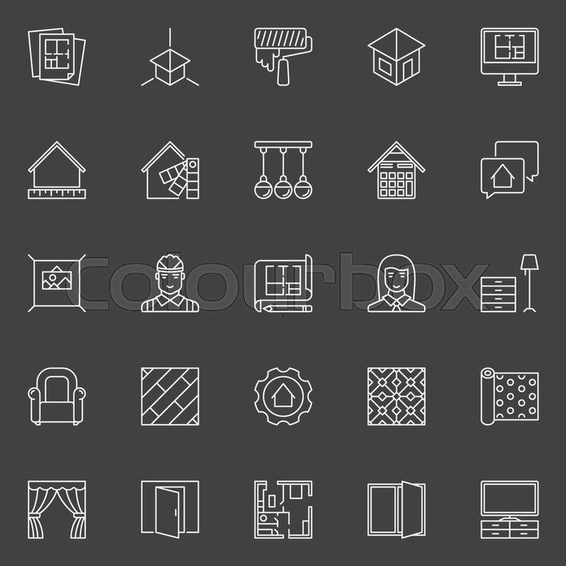 Home Design Icons Vector Interior Stock Vector