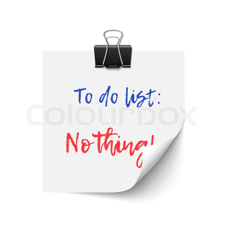 vector to do list nothing laziness and vacation concept stock