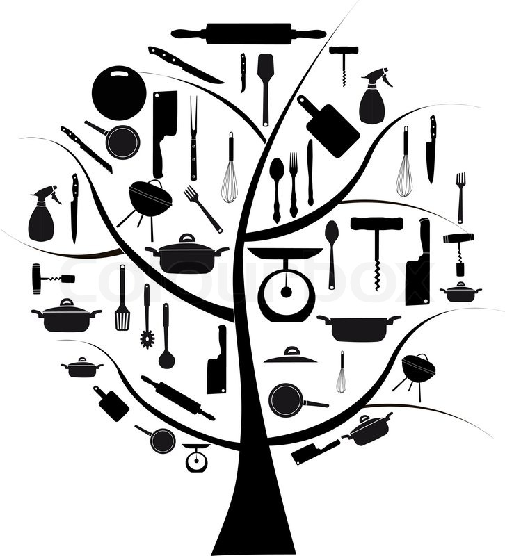 Vector Tree With Different Kitchen Tools For Cooking