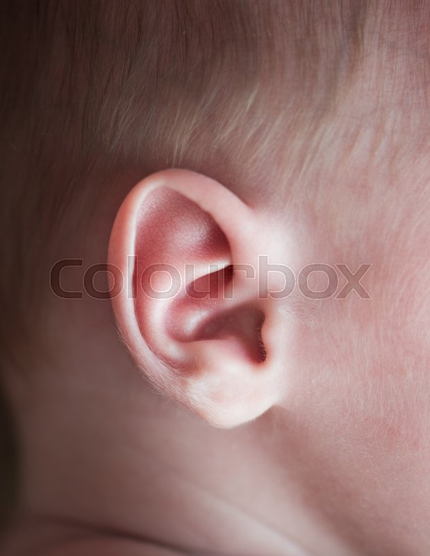 Ear of a newborn baby shot close-up of a macro lens, stock photo