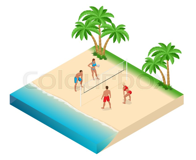 Beach volley ball player jumps on the net and tries to blocks the ball. Summer active holiday concept. Vector isometric illustration, vector