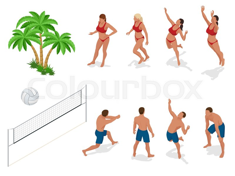 Figures of people when playing volleyball. Beach volley ball concept. Vector isometric illustration, vector