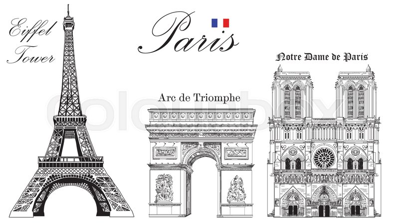 Vector Eiffel Tower Triumphal Arch And Notre Dame