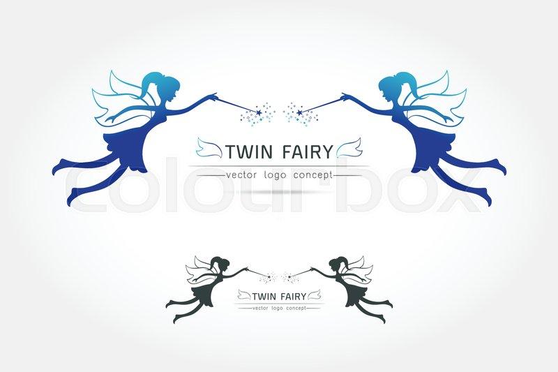 Fairy Flying Logo Vector Icon Cartoon Style Fairy Black Silhouette