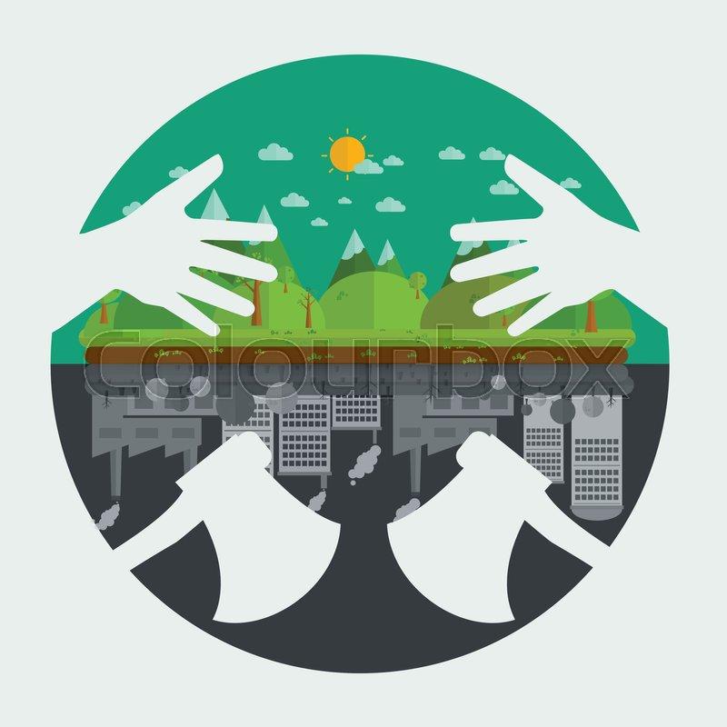 Eco Friendly Hands Hug Concept Green Treeenvironmentally Friendly
