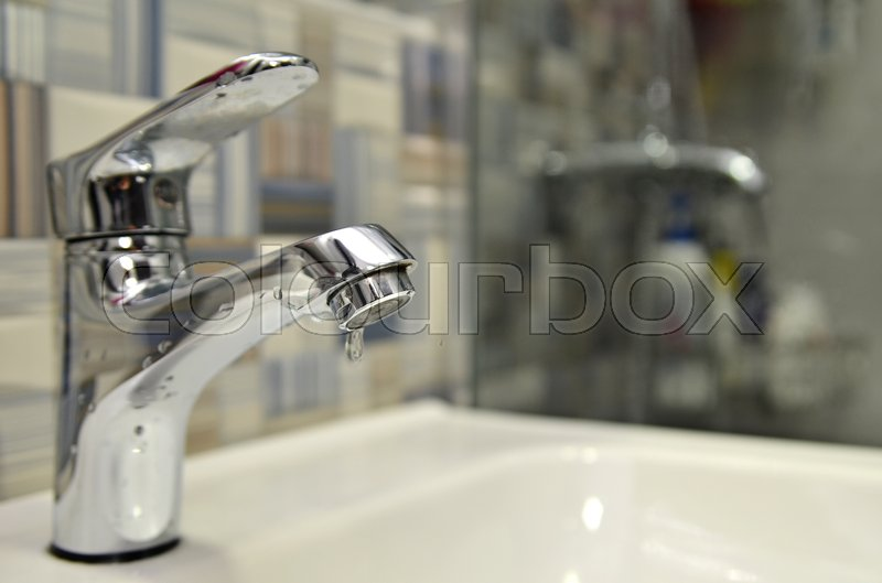 Bathroom tap leaking water drops. Saving water concept | Stock Photo ...