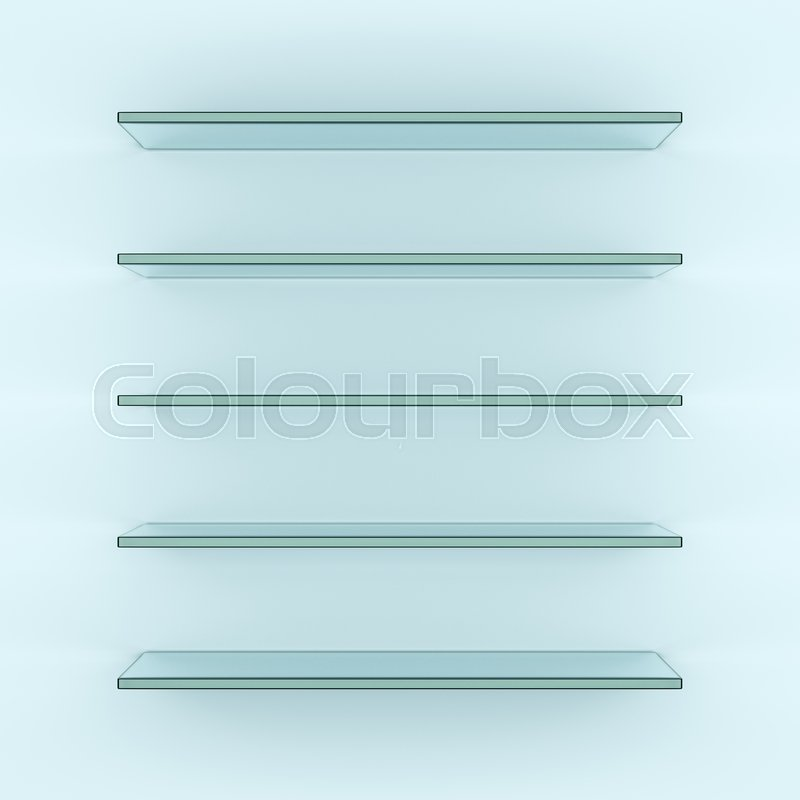 Empty glass shelves, 3d rendering. Template for your design, stock photo