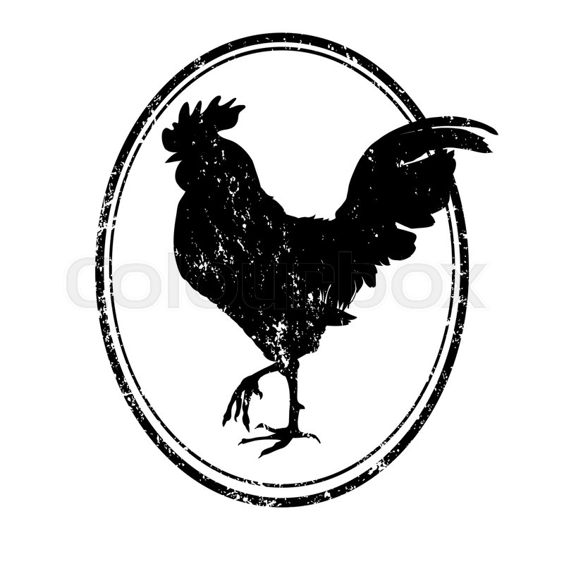 Cartoon Illustration Of An Isolated Black And White Rooster Silhouette Grungy Stamp Based On Original Hand Drawn Sketch Vector