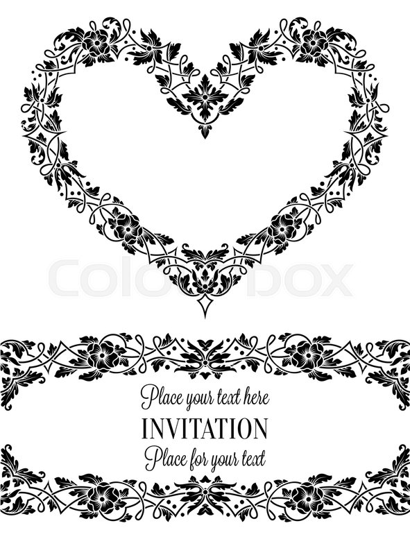 Floral invitation card with antique, luxury black and white vintage ...