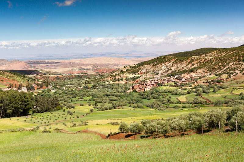 Morocco, High Atlas Landscape. Valley near Marrakech on the road to Ouarzazate.Spingtime, sunny day. Africa, stock photo