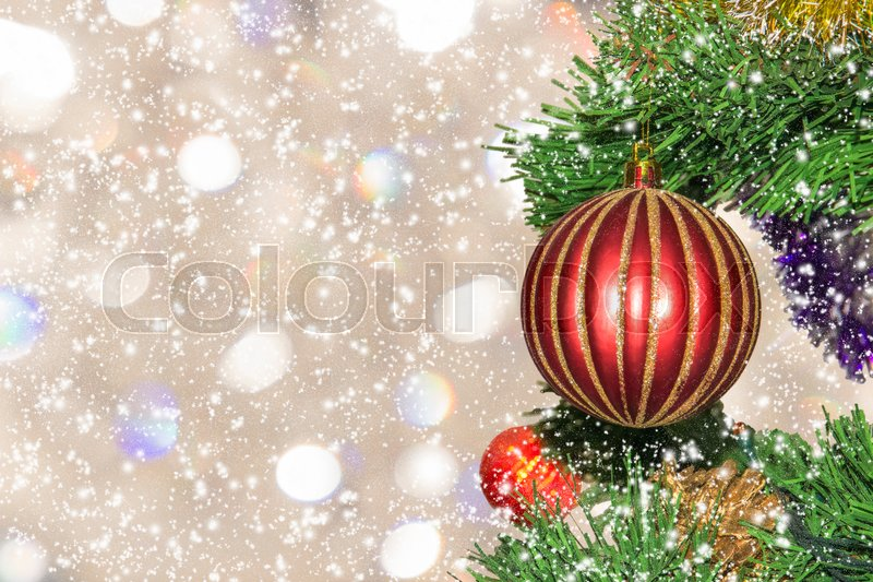 Christmas-tree decoration, close-up. Christmas picture (card), stock photo