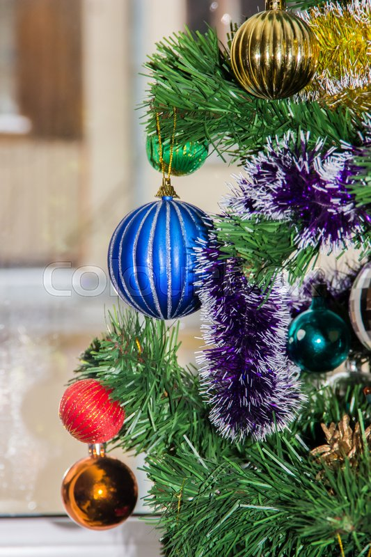 Christmas-tree decorations on firtree. Christmas picture, stock photo