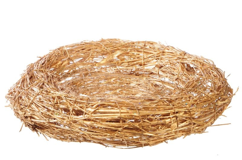 Empty Golden Nest On White Background Stock Photo