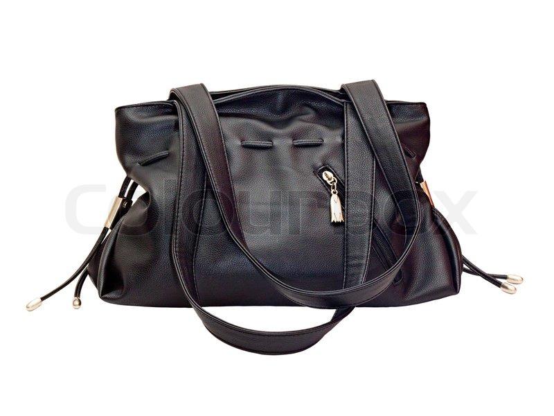 Kvinders sort læder håndtaske isoleret | Stock foto | Colourbox