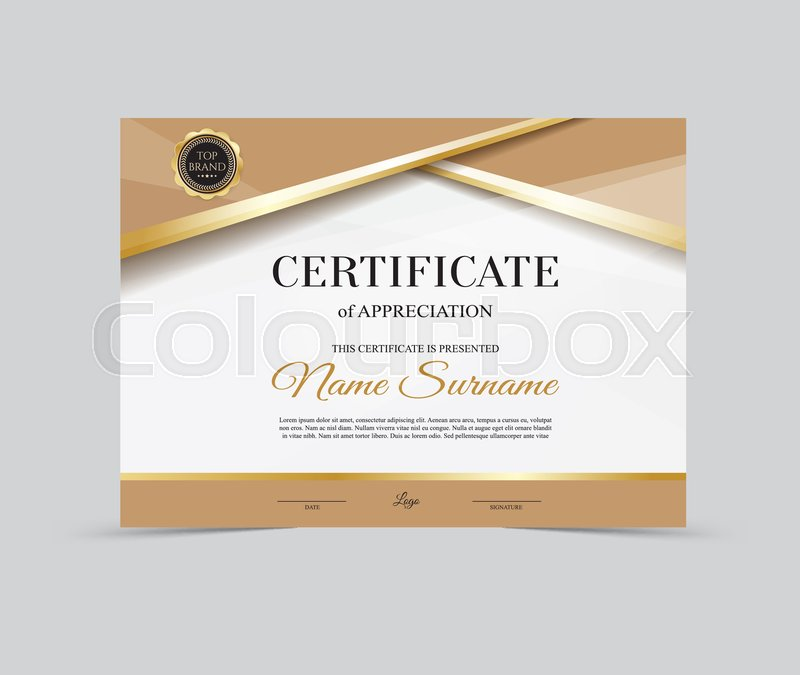 Vector Template Certificate Of Appreciation Stock Vector Colourbox