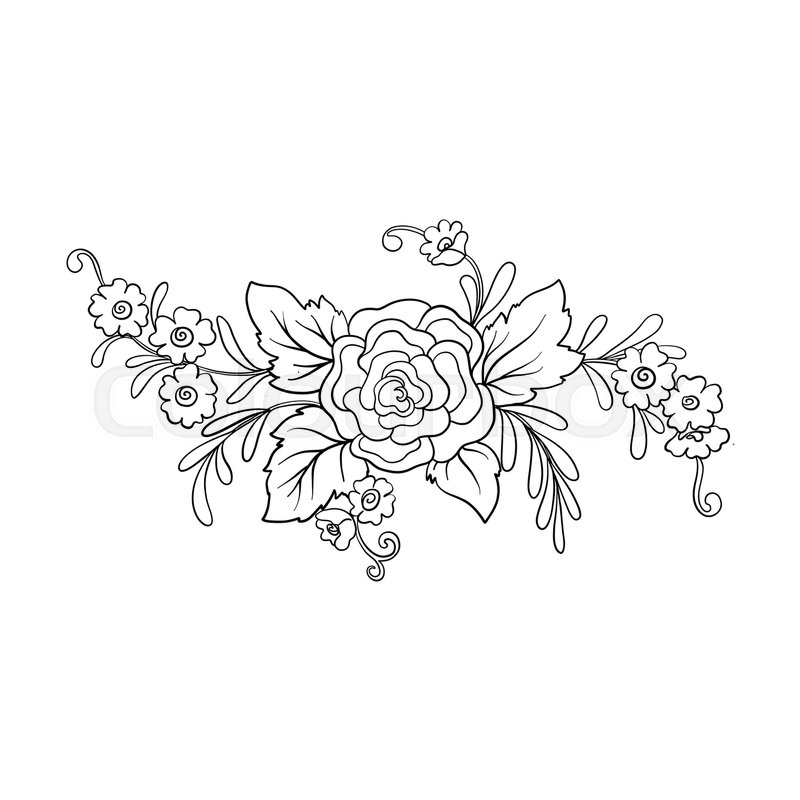 Outline vintage flowers bouquet or