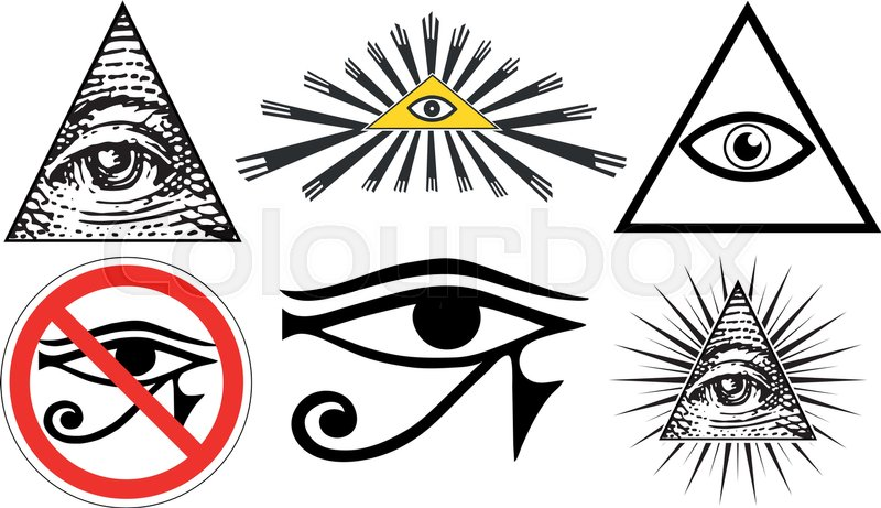 All Seeing Eye Of Providence Illuminati New World Order Set Vector