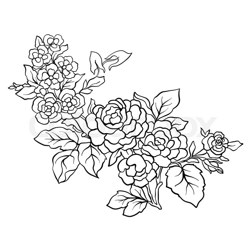 Flower Bouquet Line Drawing : Outline vintage flowers bouquet or pattern in rococo